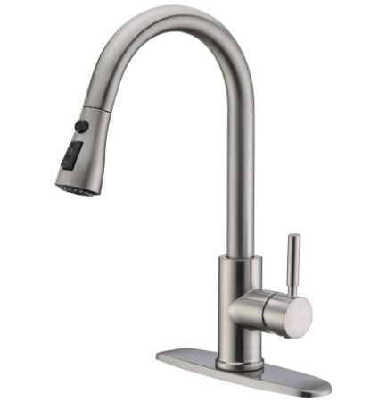 WEWE Single Handle High Arc Brushed Nickel Pull Out Kitchen Faucet